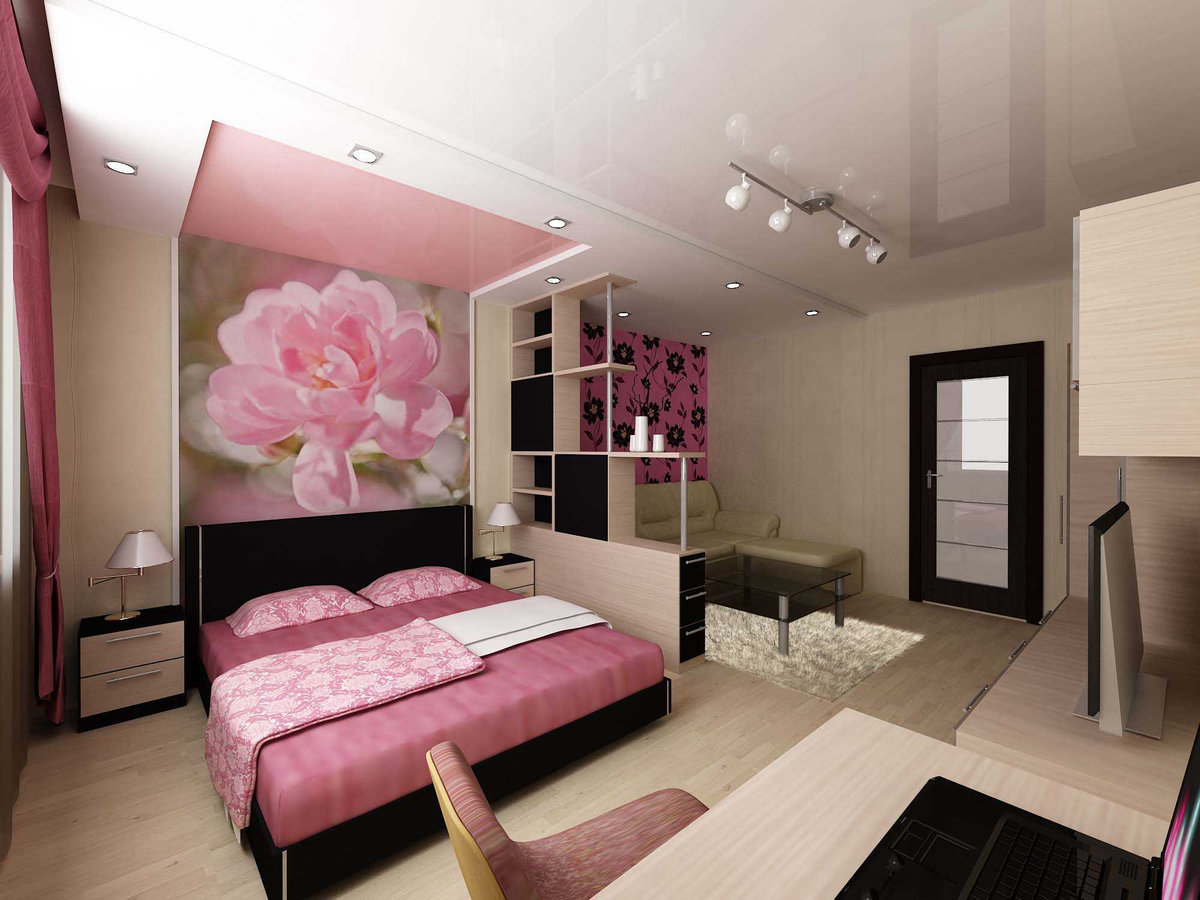Cozy Feminine Bedroom Ideas for Relaxation and Boosting Your Energy. Combination of bright pink and black colors