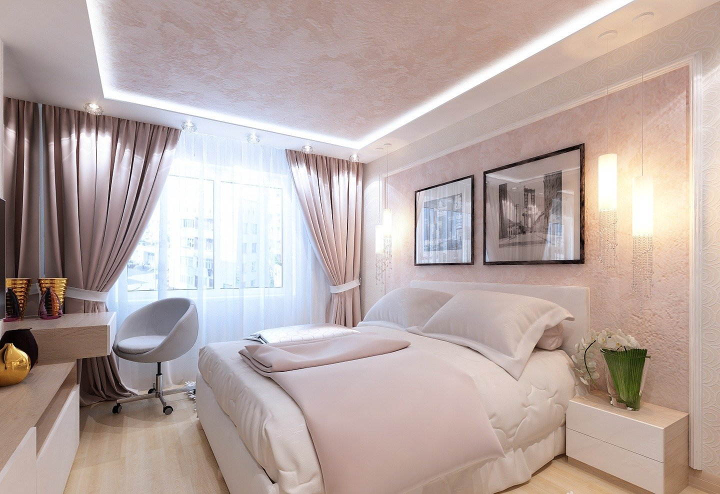 Powder pink color for feminine bedroom