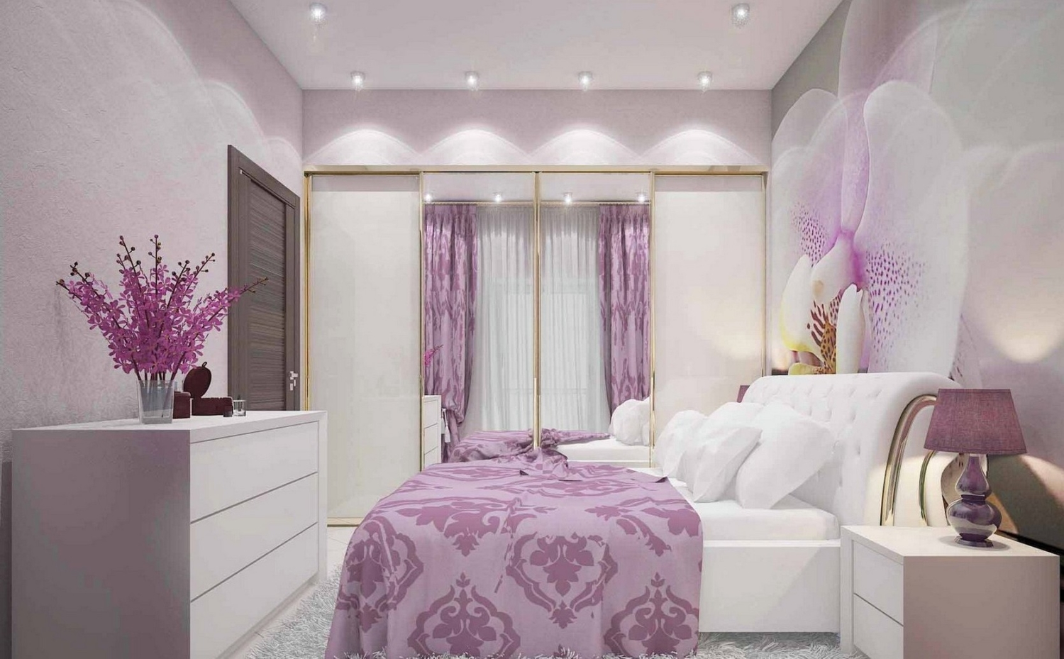 Cozy Feminine Bedroom Ideas for Relaxation and Boosting Your Energy. Charming lavender decoration and posh white furniture