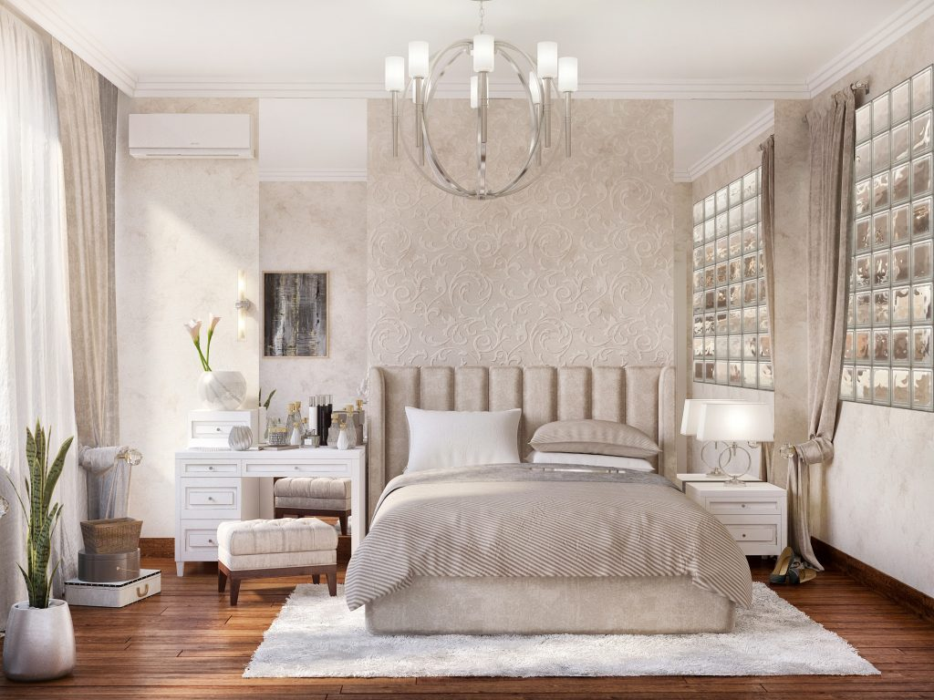 Cozy Feminine Bedroom Ideas for Relaxation and Boosting Your Energy. Pale chocolate is the main color of apartment