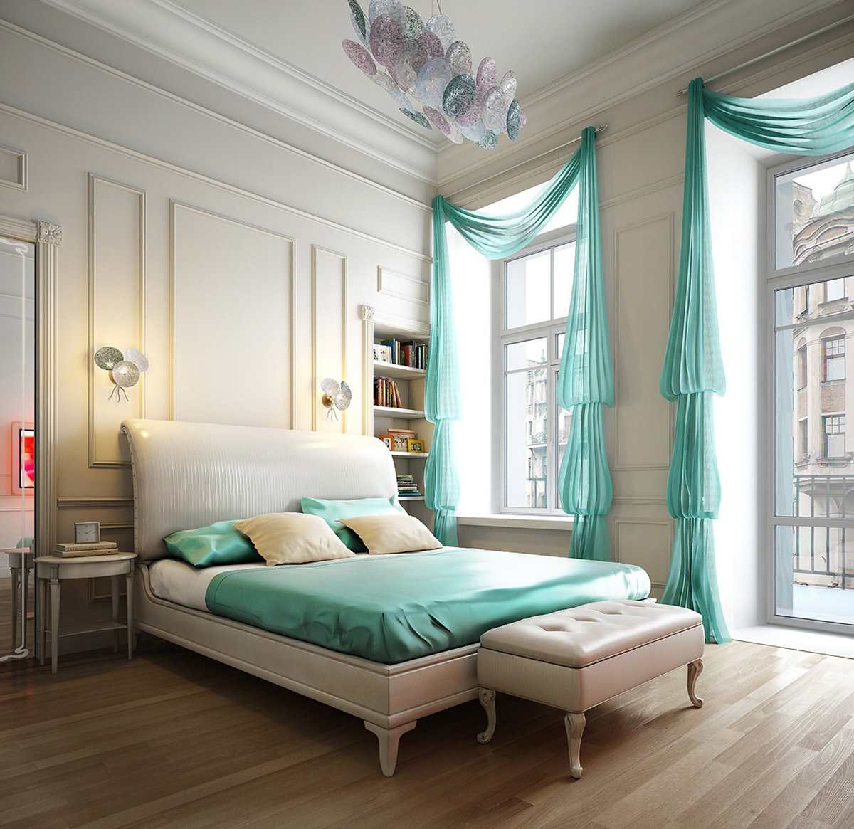 Cozy Feminine Bedroom Ideas for Relaxation and Boosting Your Energy. Bold turquoise color in your bedroom
