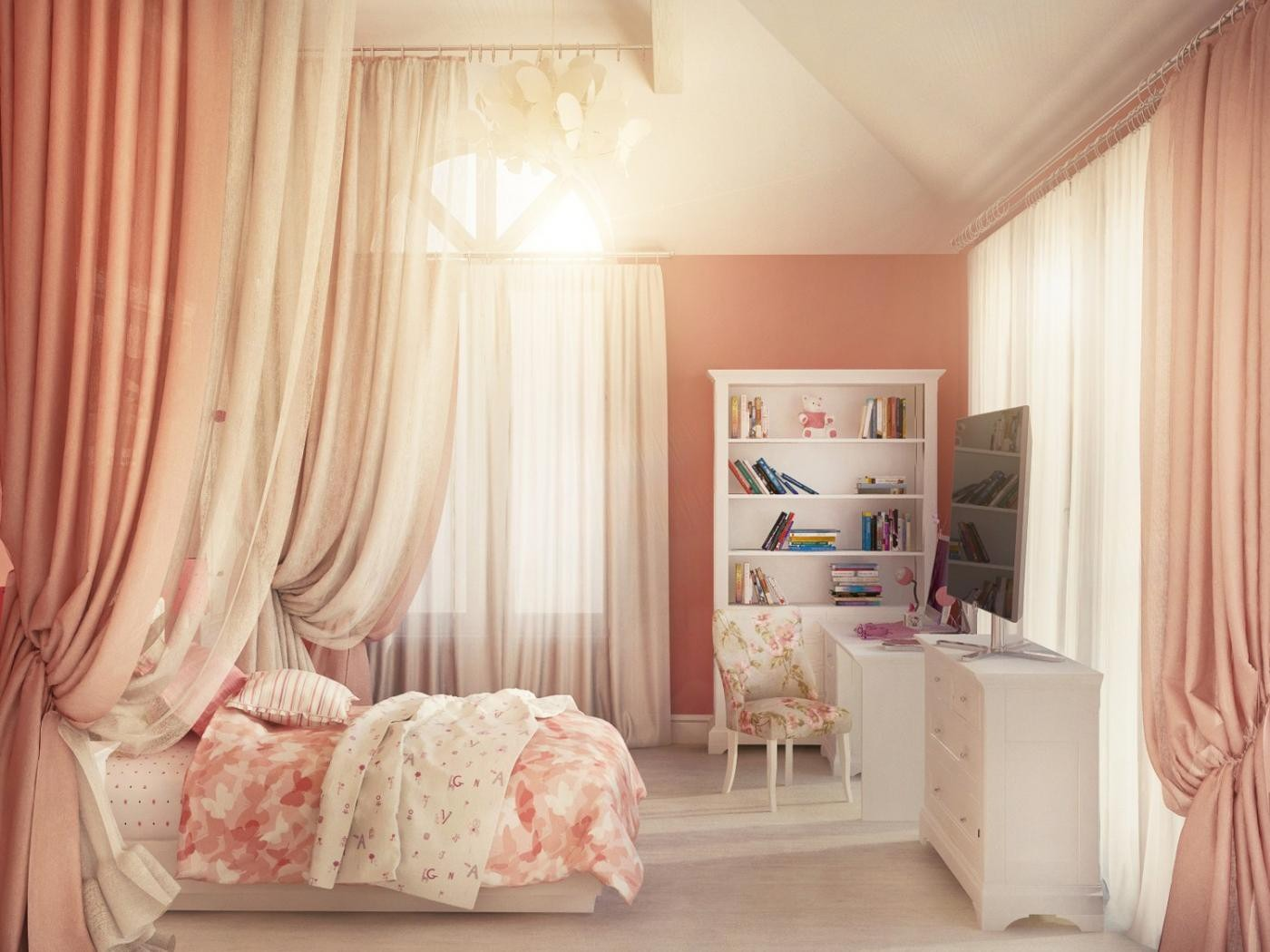 Charming girlish bedroom in muted red colors