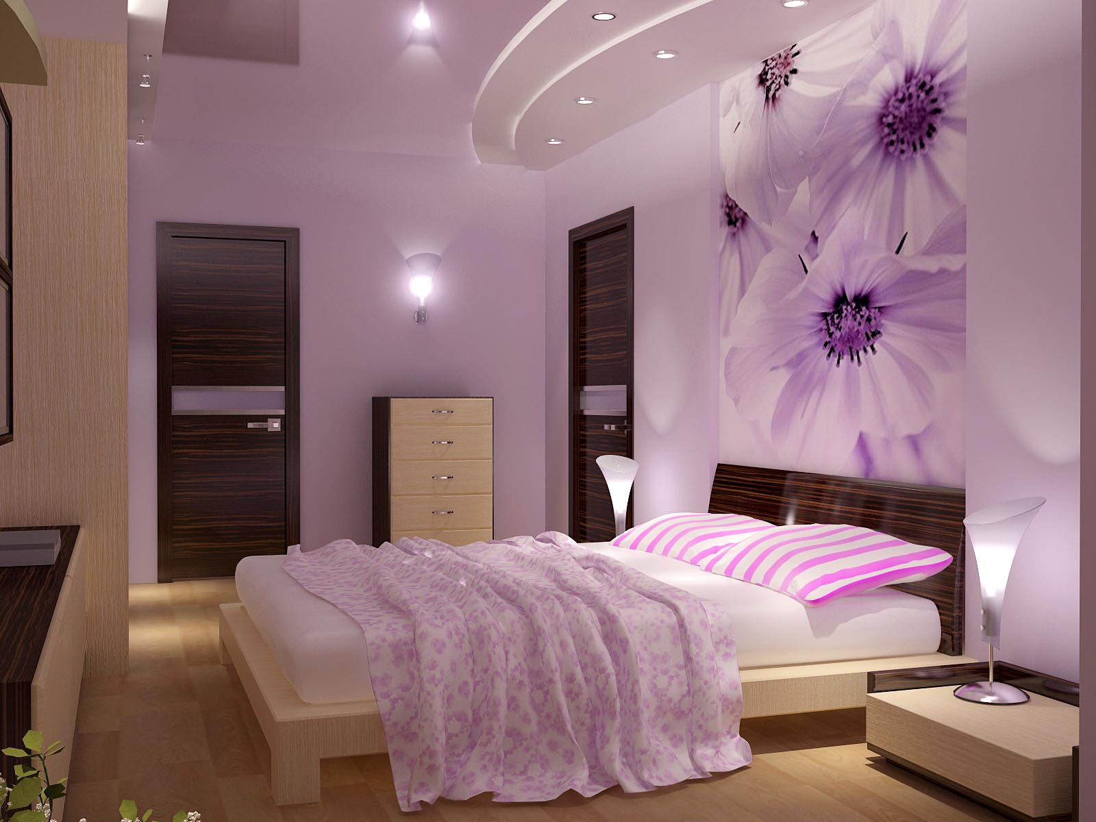 Spotlights help to create a glamorous bedroom style