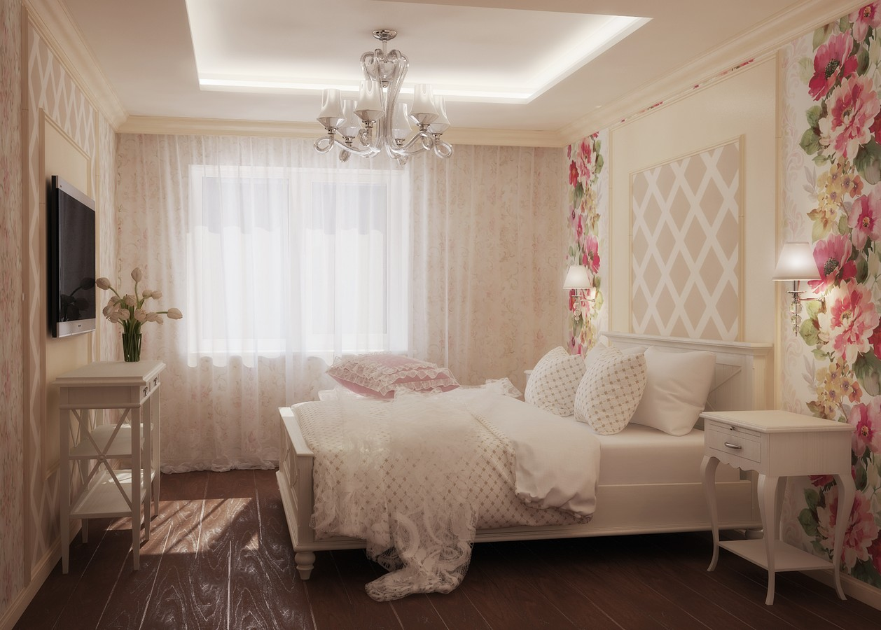 Cozy Feminine Bedroom Ideas for Relaxation and Boosting Your Energy. Floral wallpaper and classic furniture
