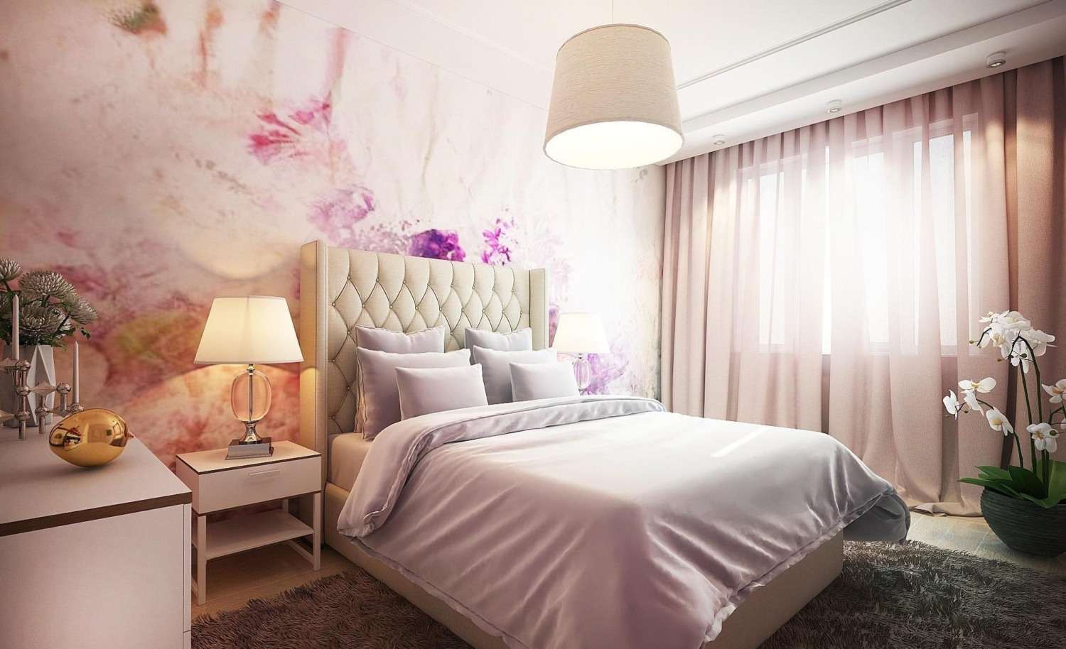 Romantic shades of purple and pink colors in a bedroom