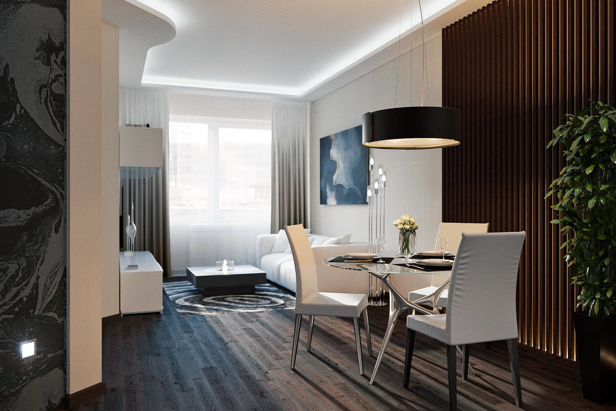 Noble condo interior design with dark brown accent wall and lamp
