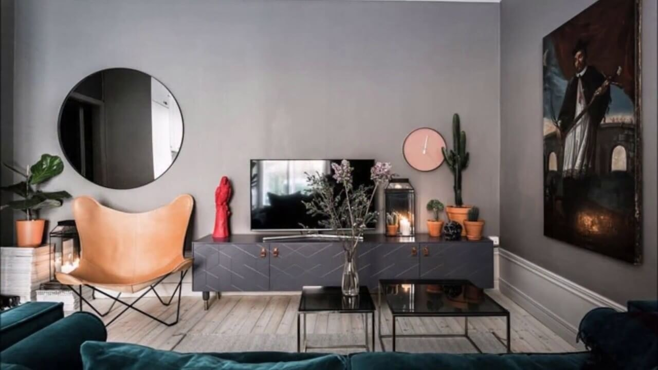 Dark gray palette for fusion decorated living room