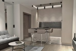 The Use of Monochromatic Interior Design to Create Stunning Interior. Successful gray colored living-dining room with LED backlight