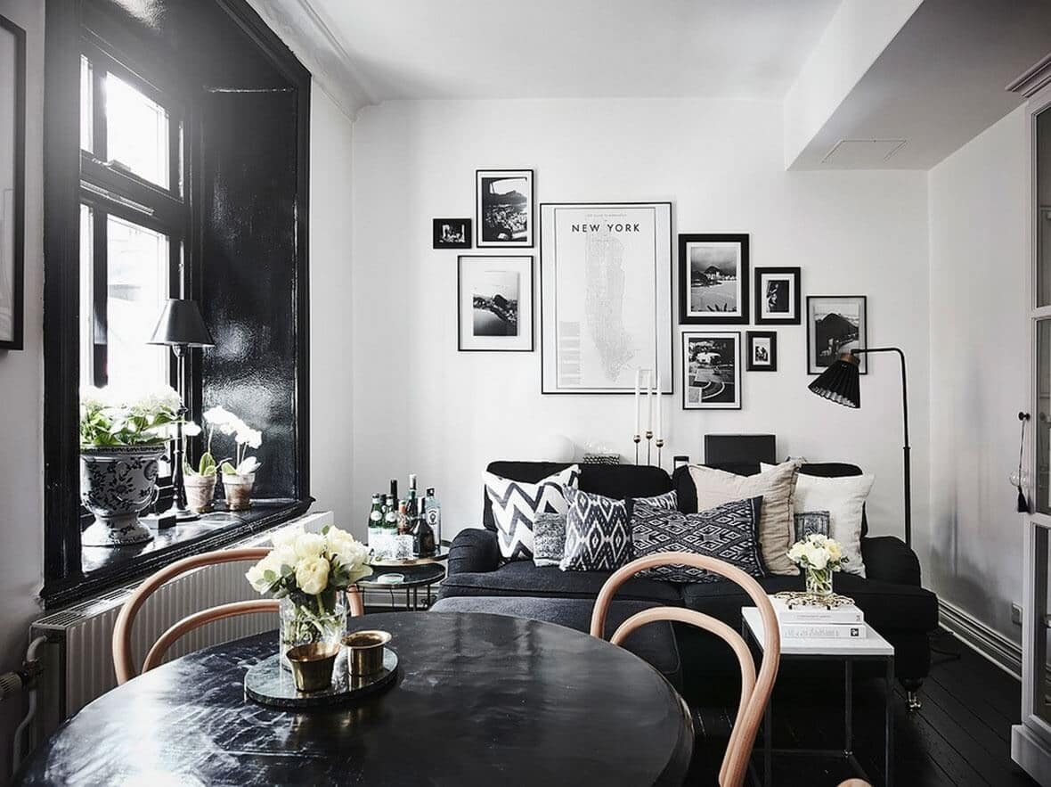 The Use of Monochromatic Interior Design to Create Stunning Interior. Black and white unexpcted classic space