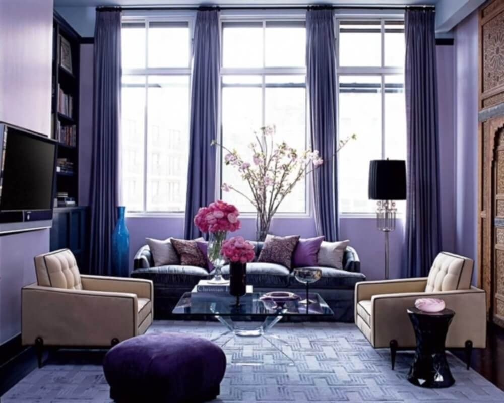 The Use of Monochromatic Interior Design to Create Stunning Interior. Purple colored room