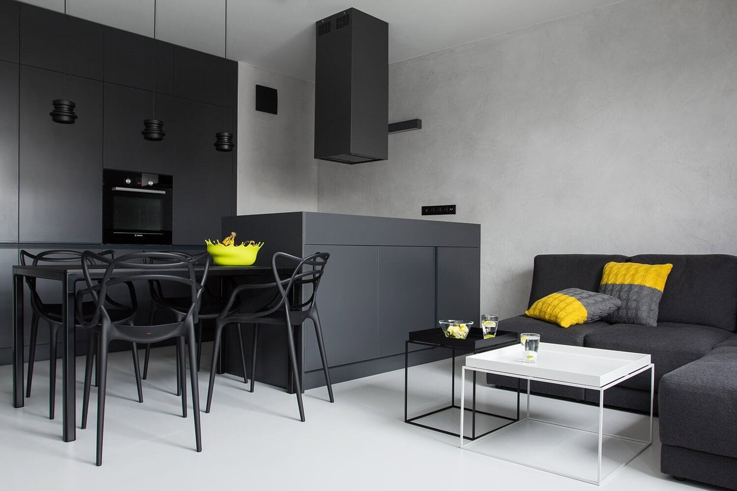 The Use of Monochromatic Interior Design to Create Stunning Interior. Striking black and white combination for hi-tech kitchen