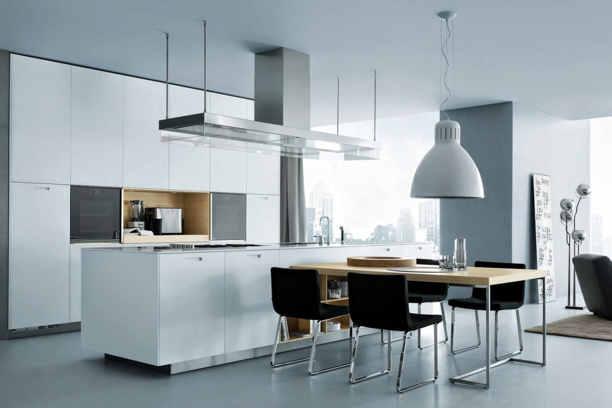 Great design of the modern styled minimalistic black and white kitchen with crisp lines