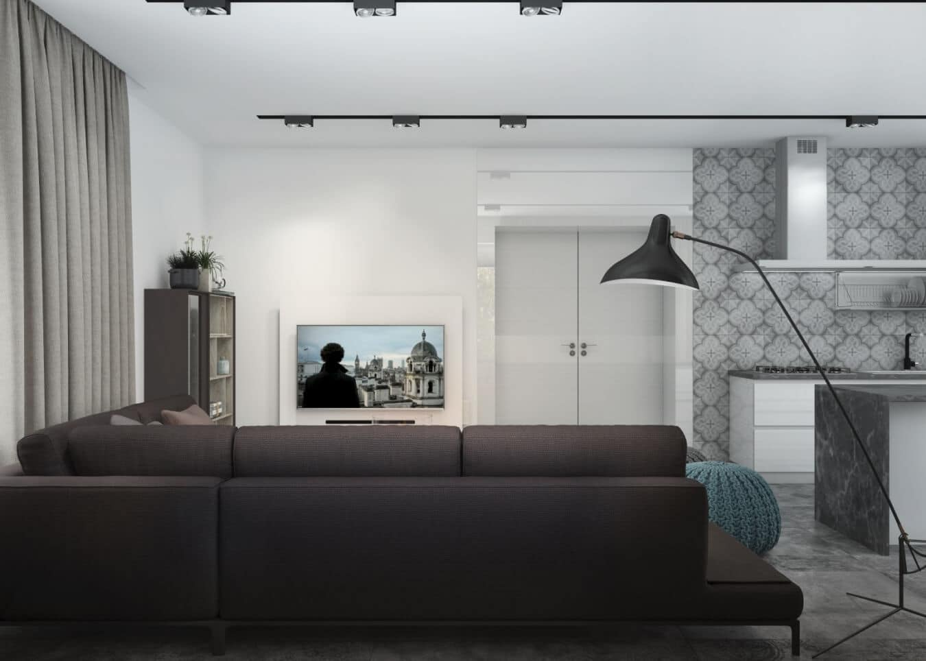 Dark sofa and floor lamp to make living zone maximally cozy for casual interior