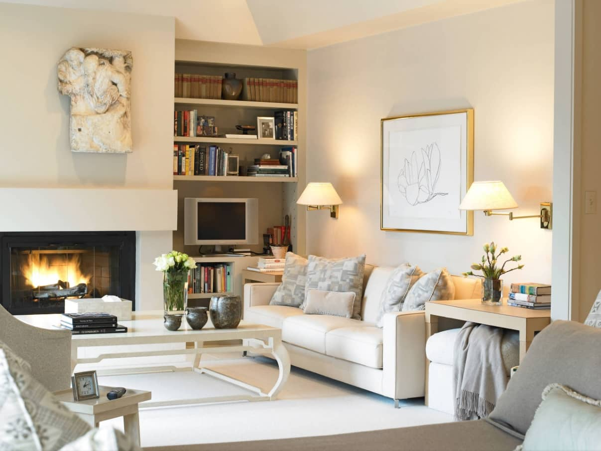 Why Do We Use Wall Sconces. Modern casual stylistic in cozy living room in pastel colors