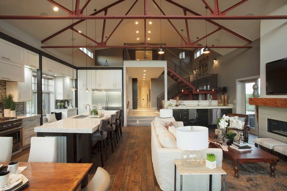 Industrial Style House Interior Design Overview with Photos. Metal ceiling carcass and the light designed furniture