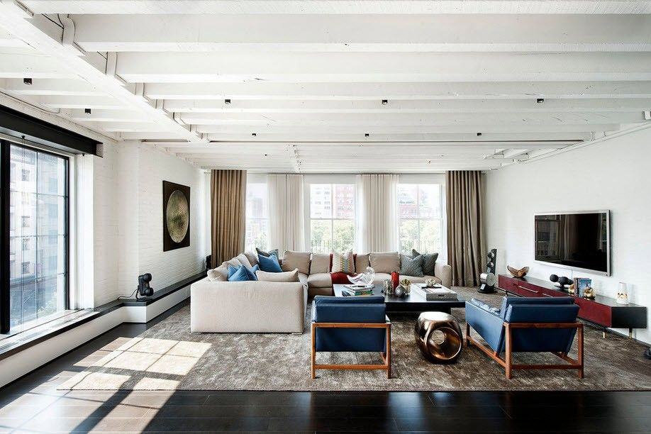 Gray ceiling and walls to emphasize living zone and dark floor