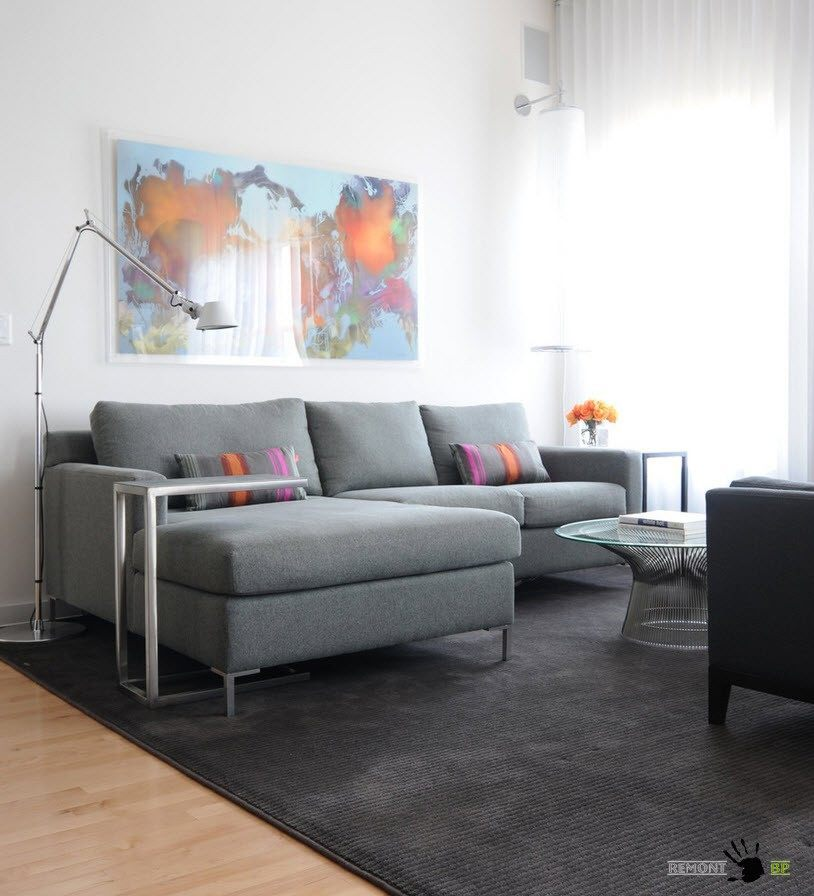 Gray colored small furniture for the light tiny living room