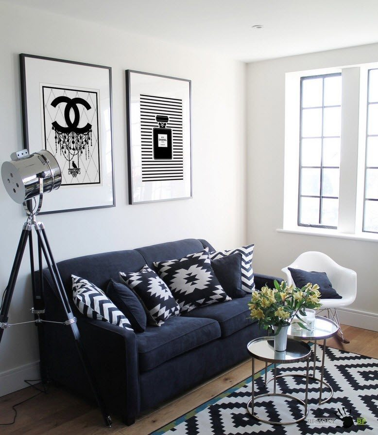 All the Effective Design Options to Apply in Modern Tiny Living. black and white rug and dark blue sofa for white room