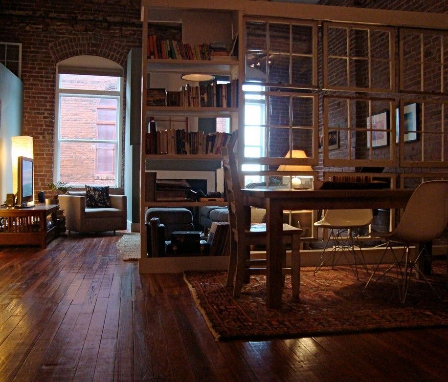 Industrial Style Interior Design Overview with Photos. Dark wooden finished space of the home office
