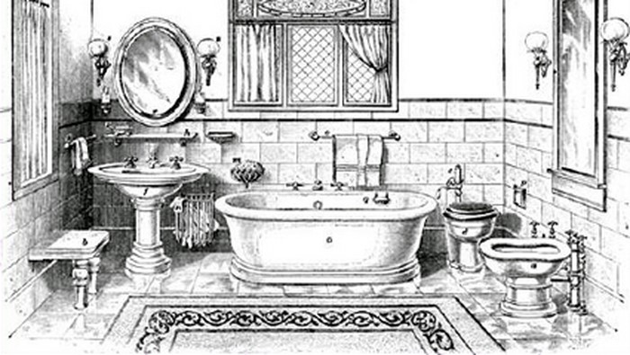 The History of Bidet: Is It Necessary Attribute or a Gimmick? The pencil drawing of the ancient times bath and toilet