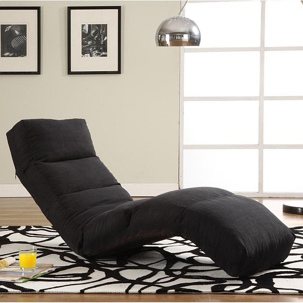 Chais Lounge Leisure Chairs for Indoor and Outdoor Relaxation and Style. Black floor chaise lounge as bold contrast for grey room
