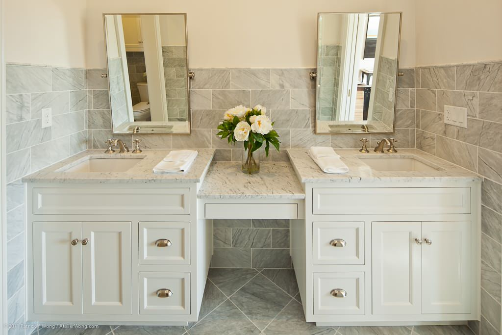 Transitional Style Interior Decoration Ideas for Different Room. White Classic designed bathroom with vanity for two and classic simple mirrors