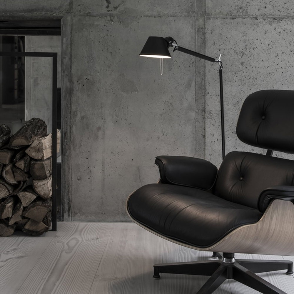 Stylish Lighting for Specific Zones: Floor Lamps Overview. Eames chair, firewood storage and grey concrete walls