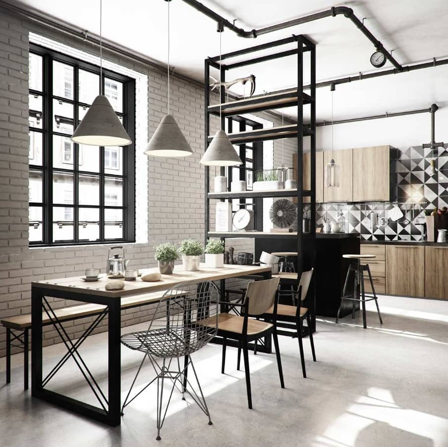 Fresh Modern Black and Grey Dining Set Ideas to Refine the Interior. Steampunk touch in the modern industrial apartment