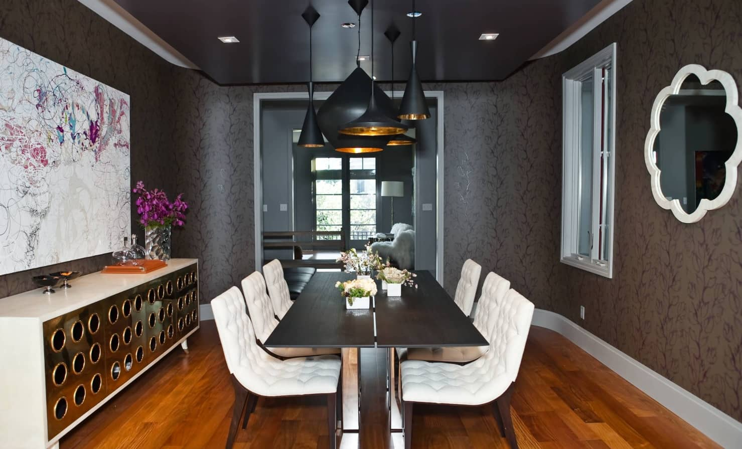 Fresh Modern Black and Grey Dining Set Ideas to Refine the Interior. All the dark room with industrial motiffs and massive lamps