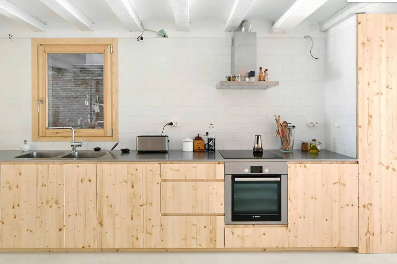 Things to Consider when Renovating A Home. Enrepeatable DIY wooden kitchen facades ideawith untreated surface