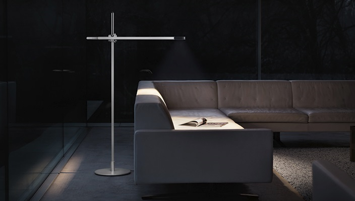 Stylish Lighting for Specific Zones: Floor Lamps Overview. Styleish dark interior with futuristic crisp lines and linear forms of the lamp and the couch