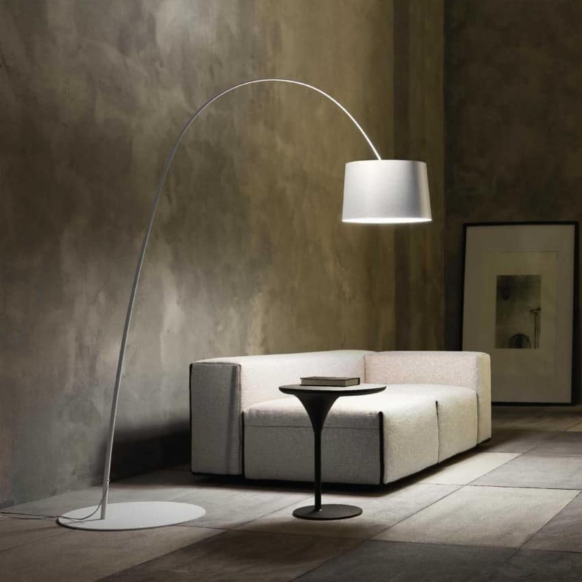 Stylish Lighting for Specific Zones: Floor Lamps Overview. Great faux concrete wall finishing for large industrial living with low couch