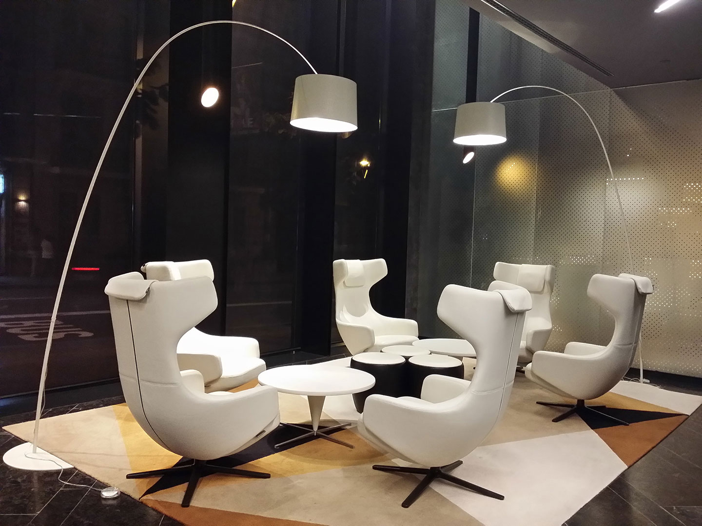White living zone enlighted with Foscarini lamp