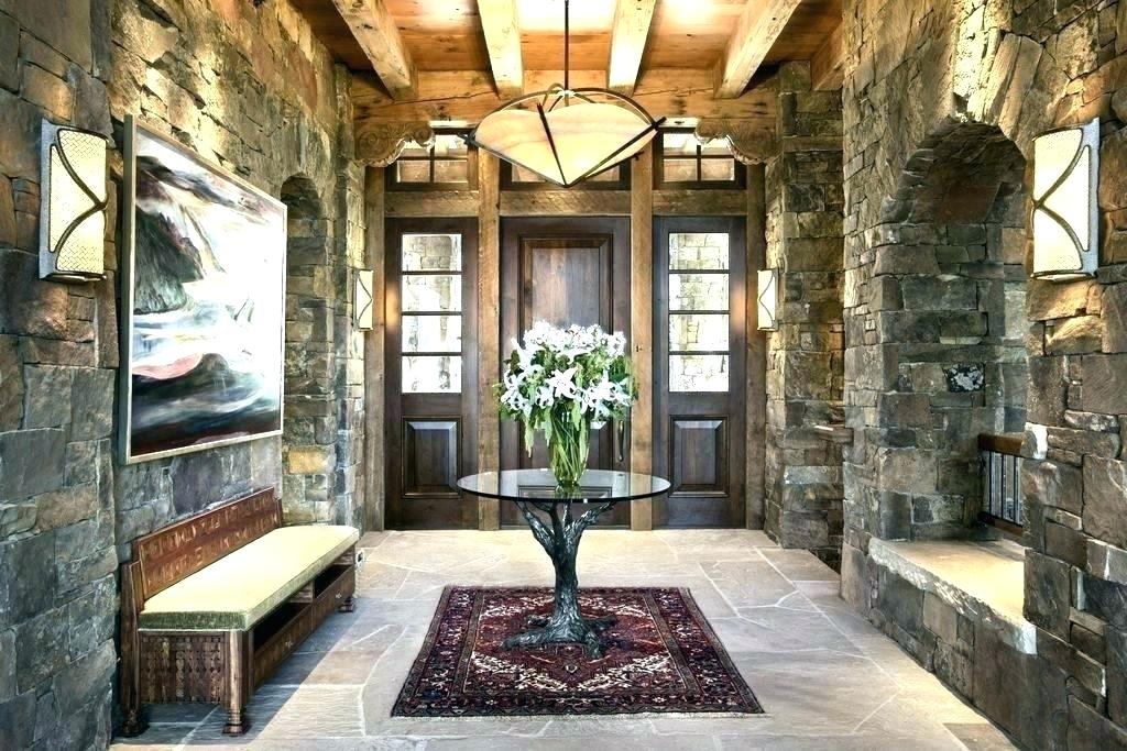 Minka Lavery Wall Sconce. Great Design of the front room with stone finished walls and massive ceiling beams
