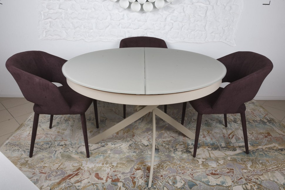 Gray Wood Round Dining Table to Complete the Breathtaking Dining Room. Small dining zone with dark chairs