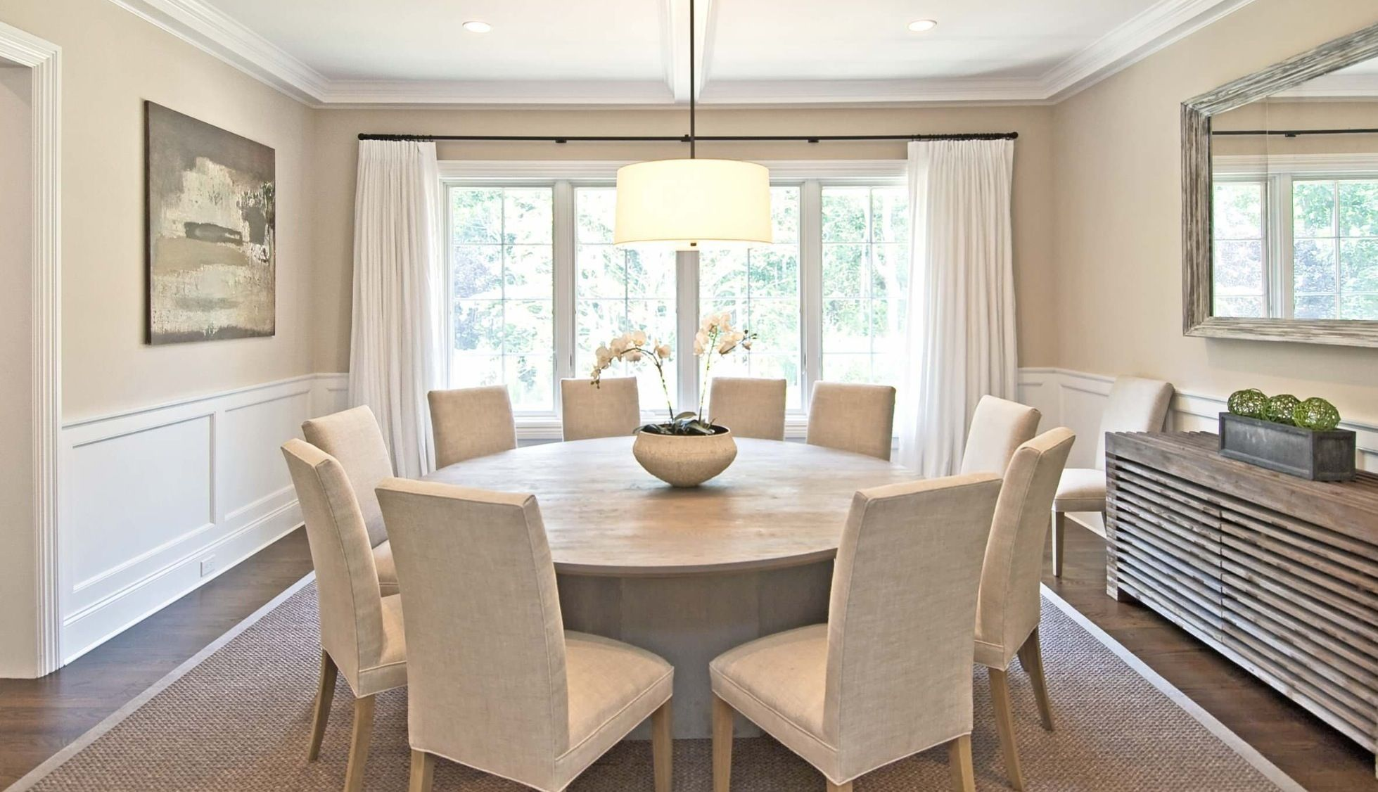 Gray Wood Round Dining Table to Complete the Breathtaking Dining Room. Modern plastic coated table in white colored space