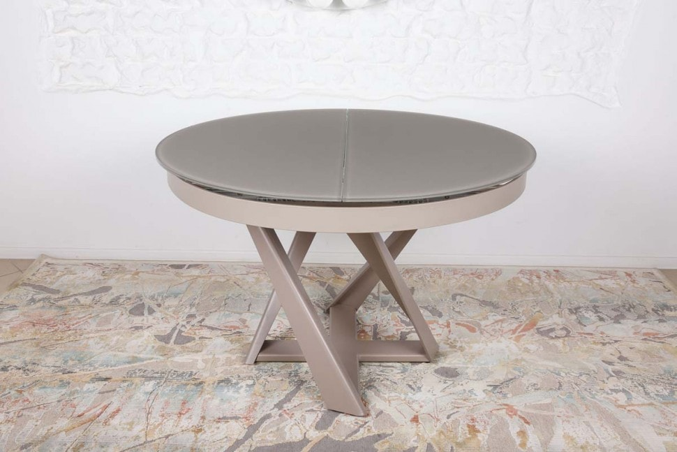 Gray Wood Round Dining Table to Complete the Breathtaking Dining Room. Gray top and brown legs for foldable table