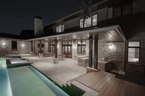 LED Wall Pack for your Home: Increase Ourdoor Lighting and Safety. Courtyard pool with perimeter backlight