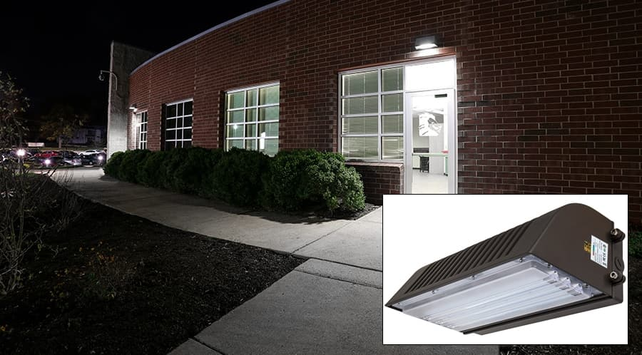 LED Wall Pack for your Home: Increase Ourdoor Lighting and Safety. Brickwork wall, alrge windows and LED pack