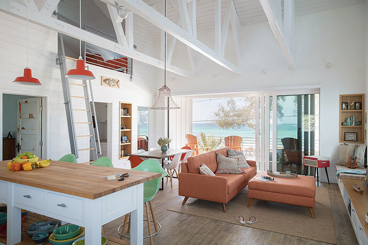 Stunning Photo Compilation of Small Beach House Designs that Inspire. Nice open light ceiling beams construction and mild toned furniture