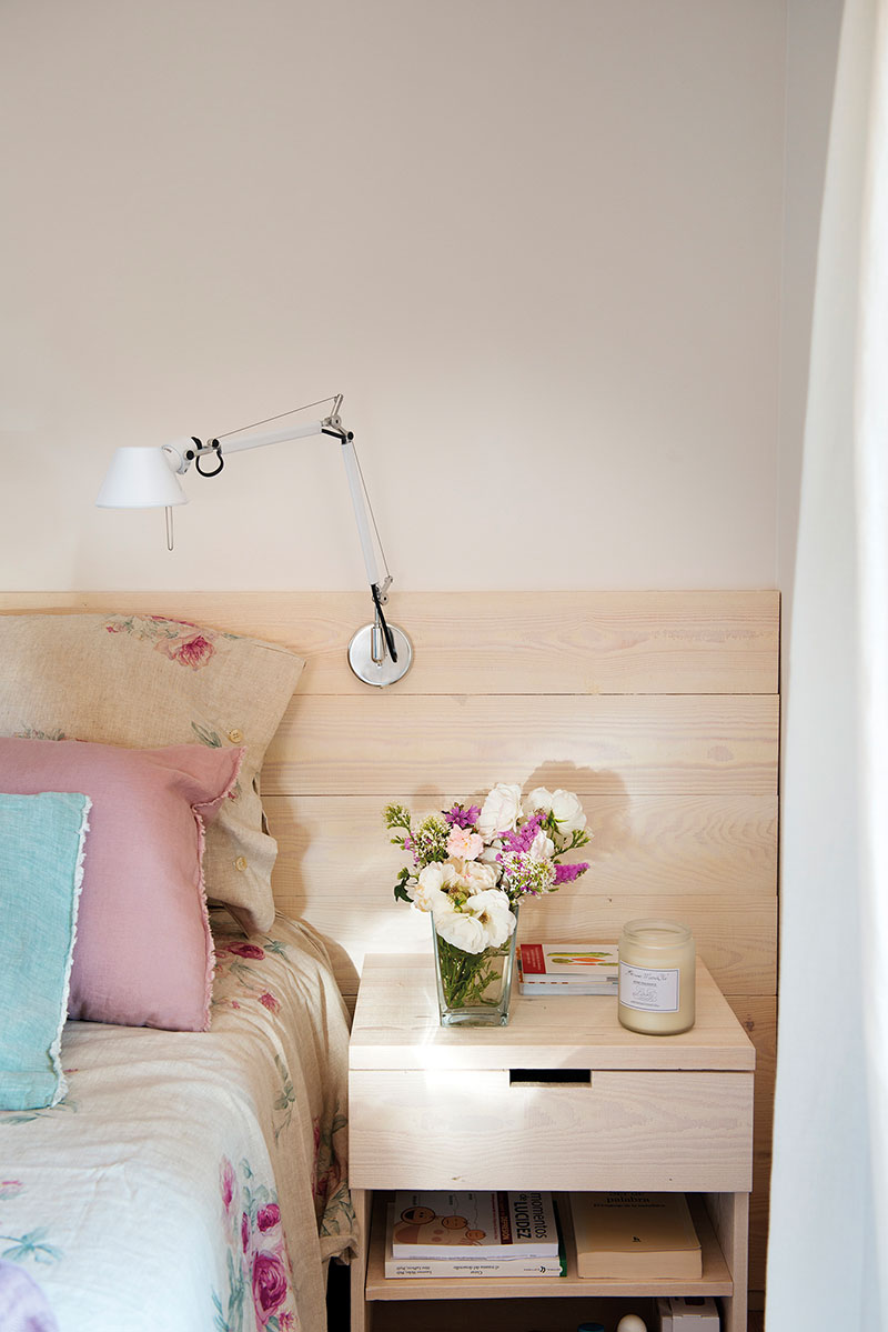Great pastel color palette for the bedroom with white oak bedside table
