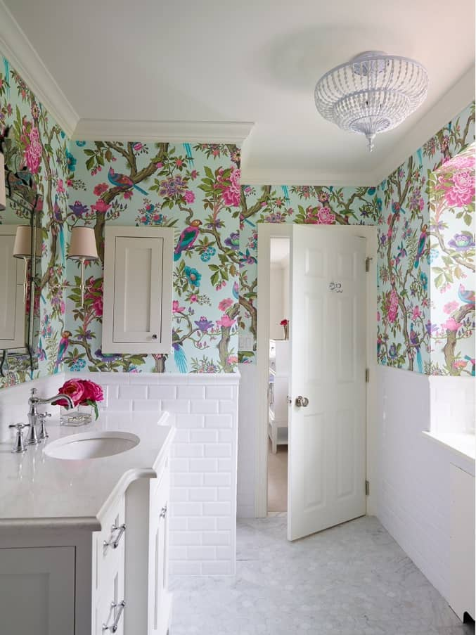 Spruce up Your Washroom: 8 DIY Shower Remodeling Ideas. Colorful wallpaper for casual interior