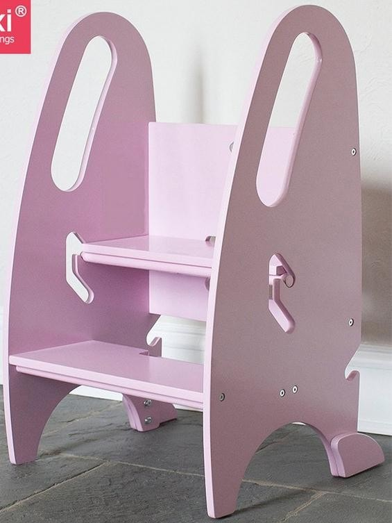 Make Your Cooking Process Easier with Step Up Kitchen Helper. Pink chair in the kitchen