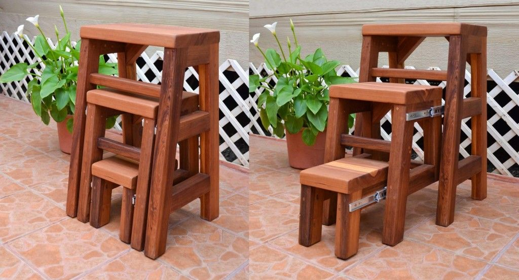 Make Your Cooking Process Easier with Step Up Kitchen Helper. Folding space-saving wooden chair turning into a ladder