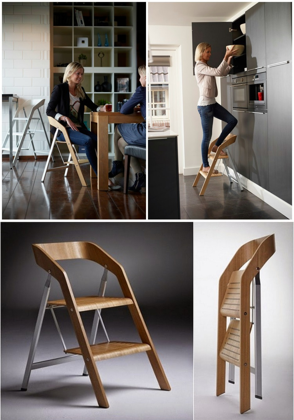 Make Your Cooking Process Easier with Step Up Kitchen Helper. Great designed kitchen foldablr chair-ladder of the light wood and metal frame