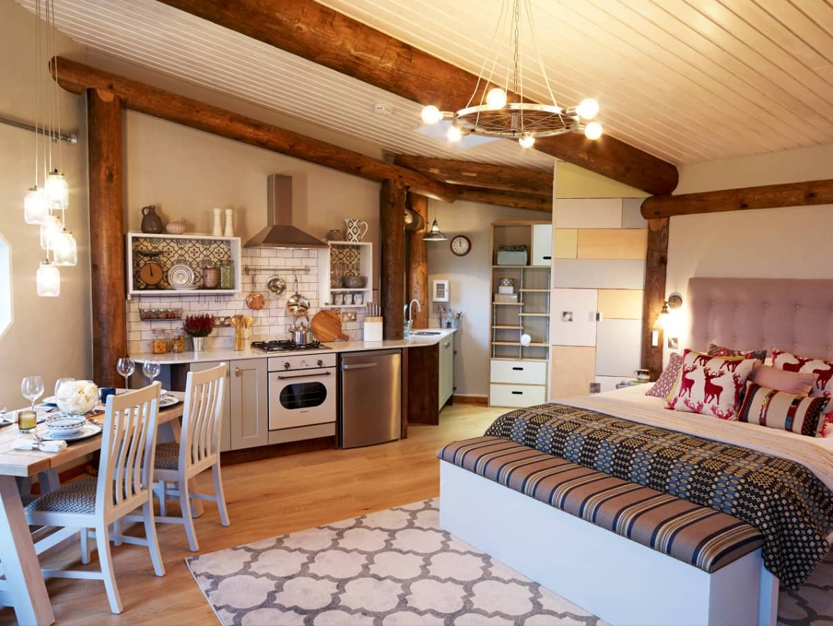 Tiny Home Interiors that Can Inspire Making Your Space more Functional. Rustic interior of the small village cottage in affable bright colors