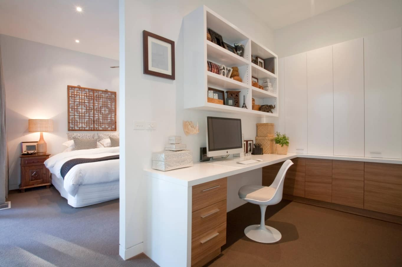 How Interior Decorating Affects Productivity in the Workspace. Modern styled bedroom with the study zone