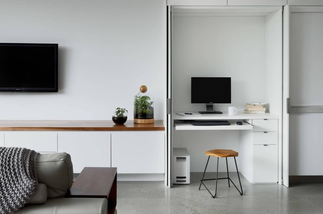 How Interior Decorating Affects Productivity in the Workspace. White minimalistic space with the nook for workplace