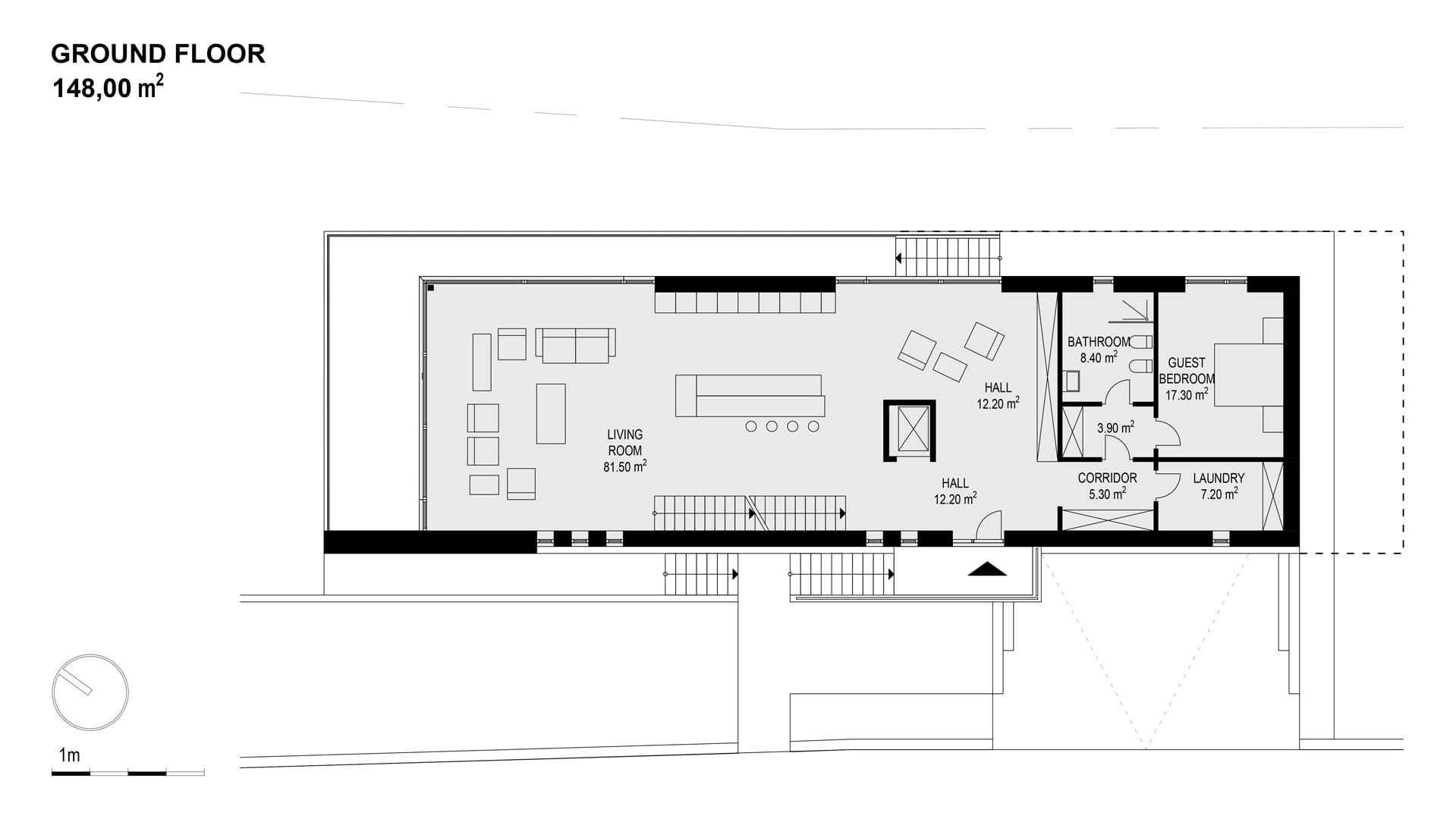 Modern Unexpected Concrete Flat Roof House Plans. Floor plan 1