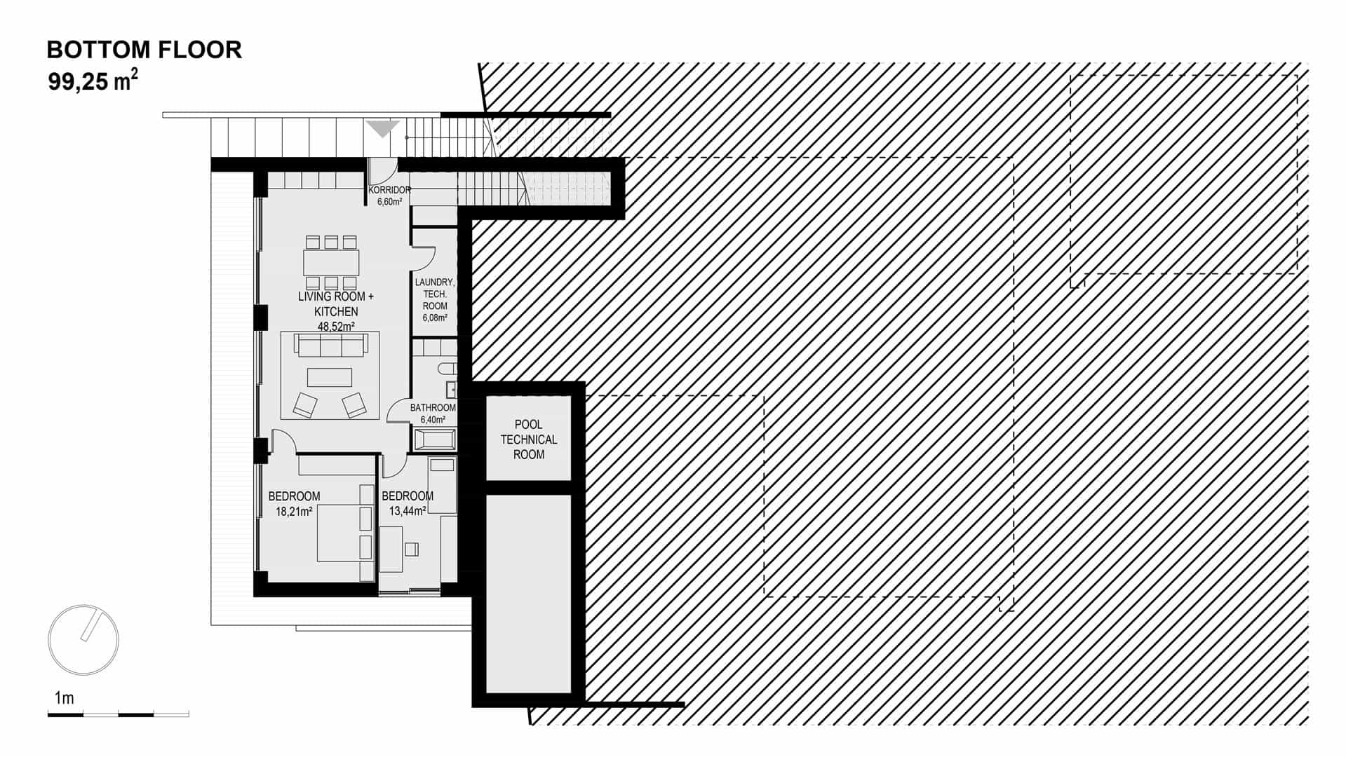 Bottom floor predominantly with bedrooms